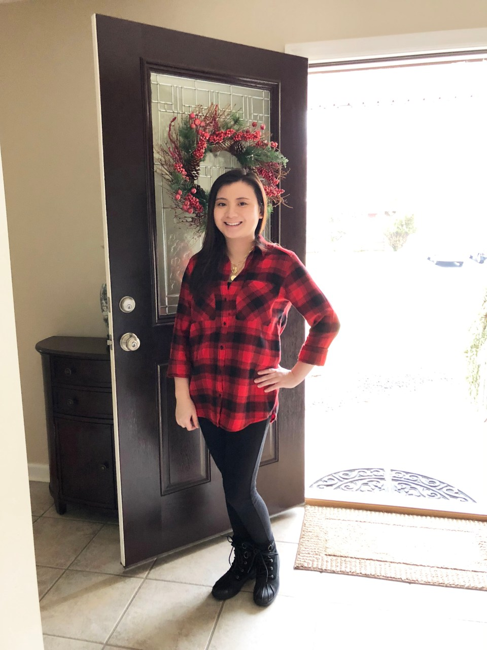 Red Plaid Flannel & Gold Layered Necklace 2