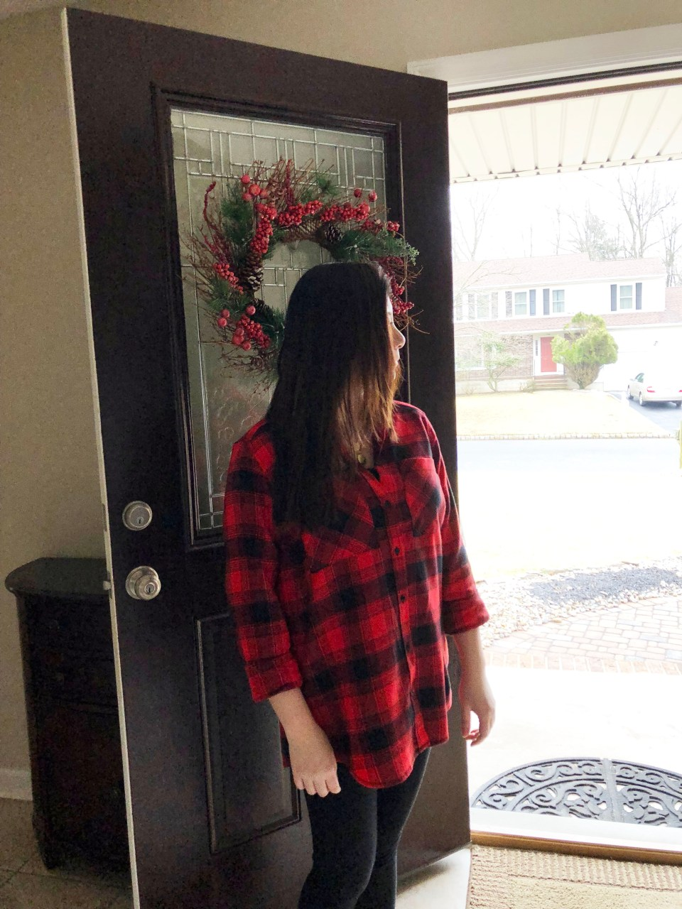 Red Plaid Flannel & Gold Layered Necklace 3