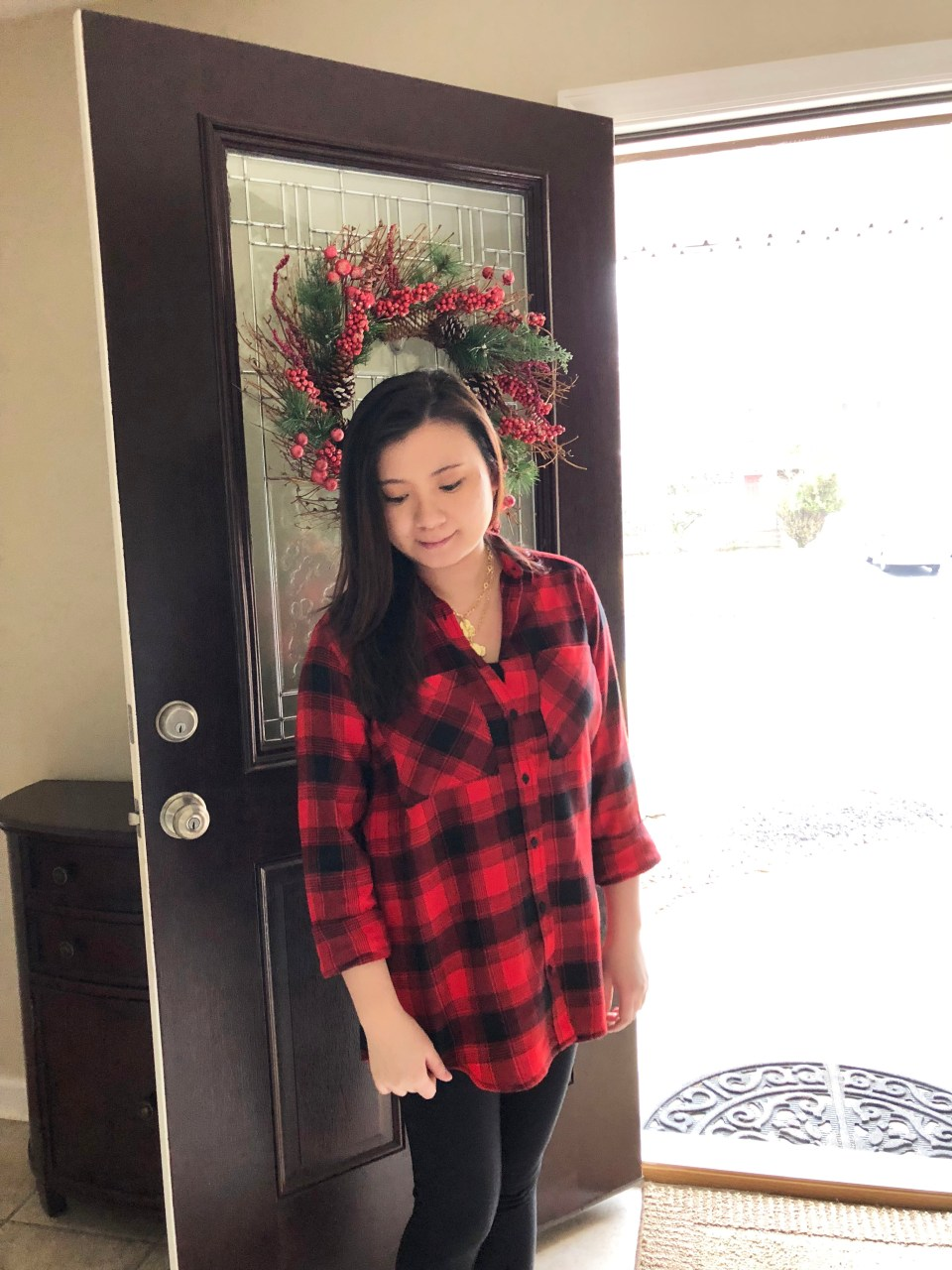 Red Plaid Flannel & Gold Layered Necklace 4