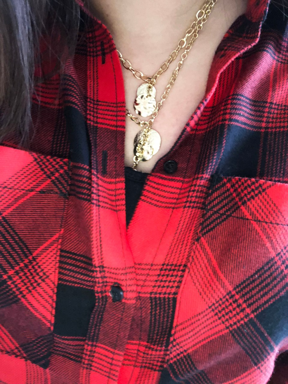 Red Plaid Flannel & Gold Layered Necklace 9