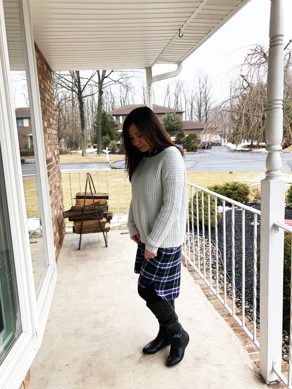 Shaker Knit Sweater + Plaid Shirt Dress 1