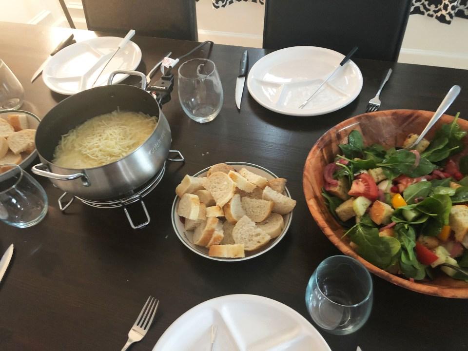 Cheese Fondue & Panzanella Salad