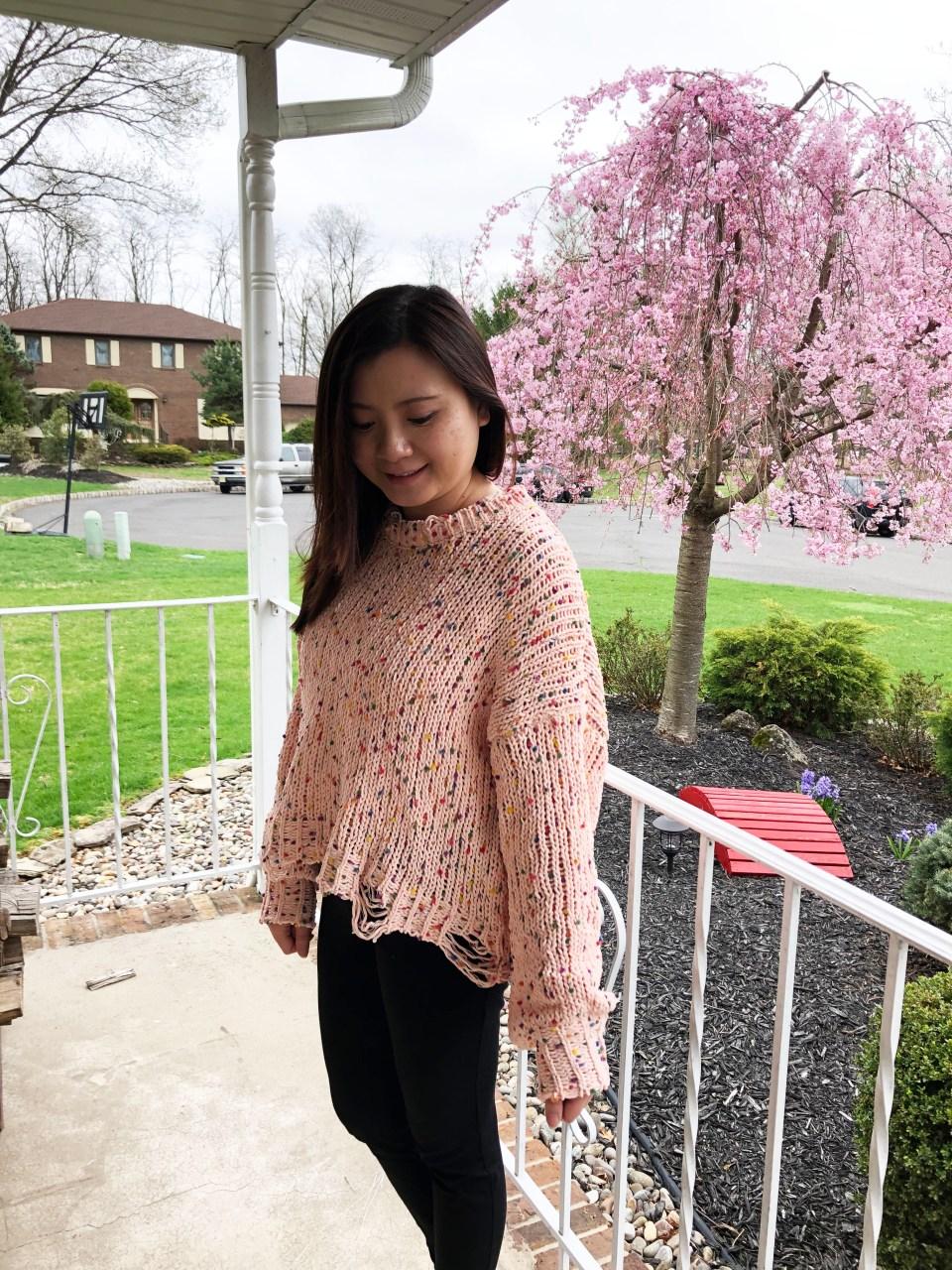 Pink Confetti Distressed Sweater 10