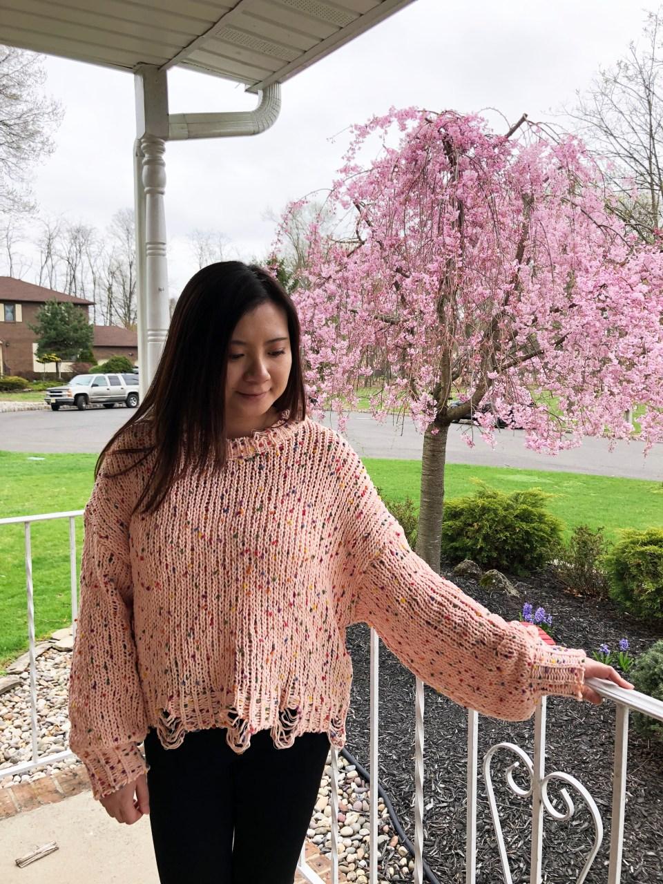 Pink Confetti Distressed Sweater 5