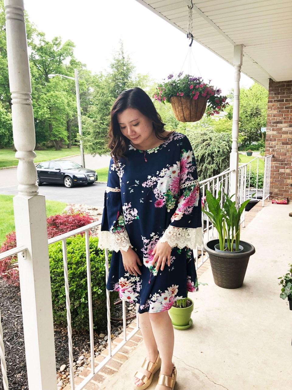 Blue Floral Lace Trim Dress 4
