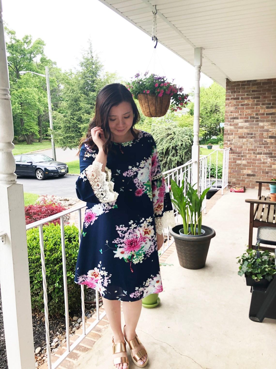Blue Floral Lace Trim Dress