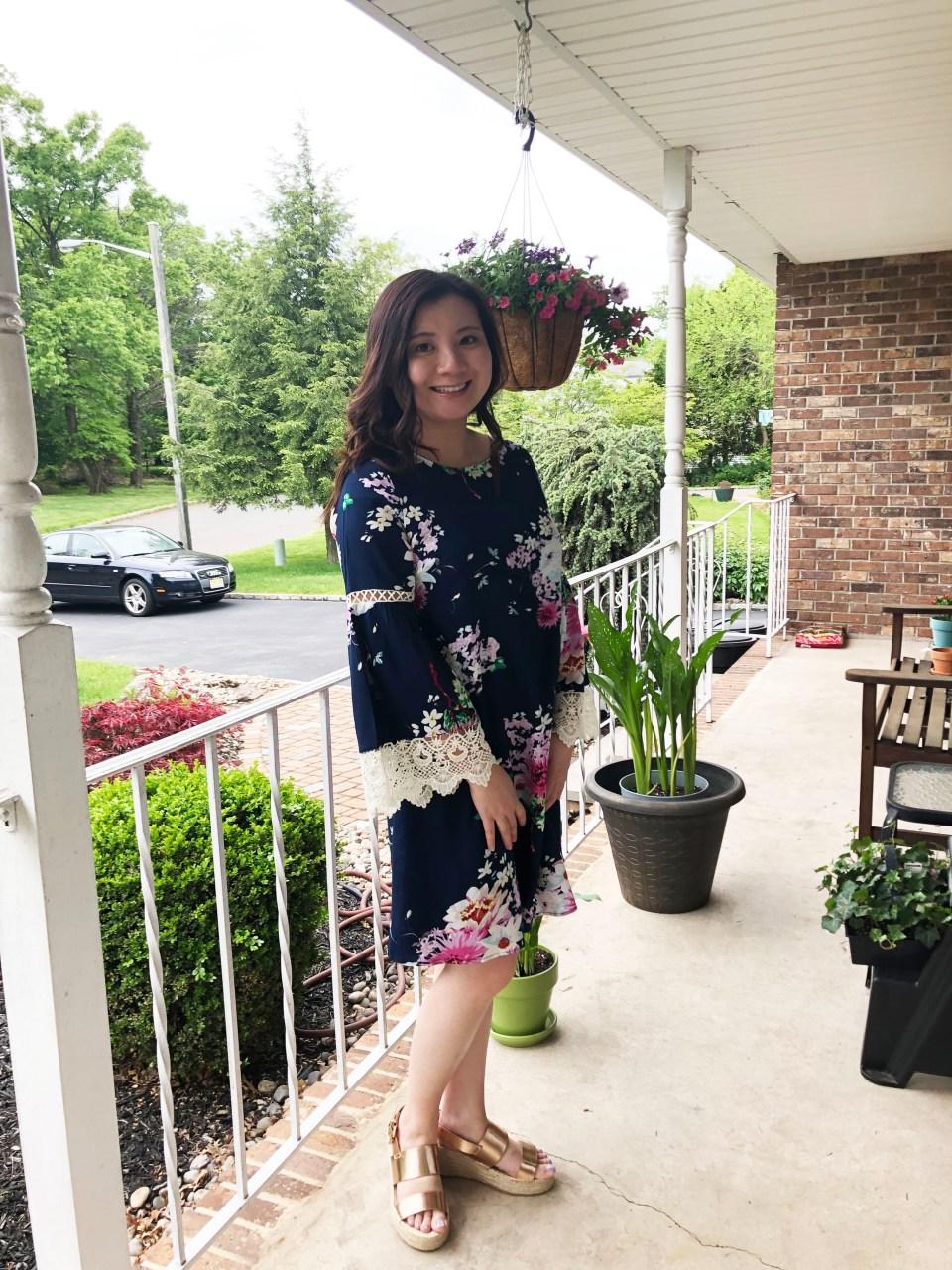 Blue Floral Lace Trim Dress 7
