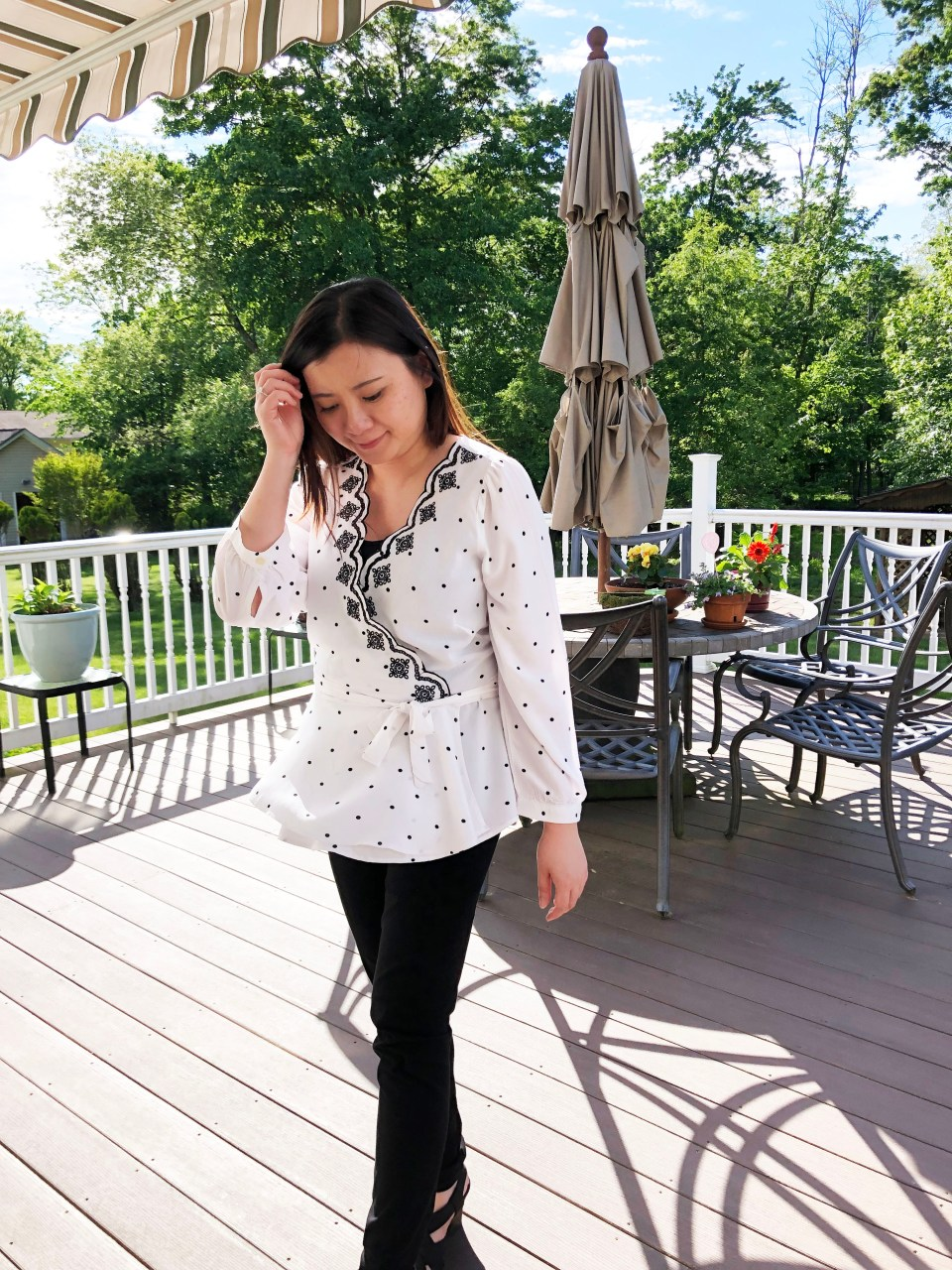 Dotted Scalloped Wrap Top 11