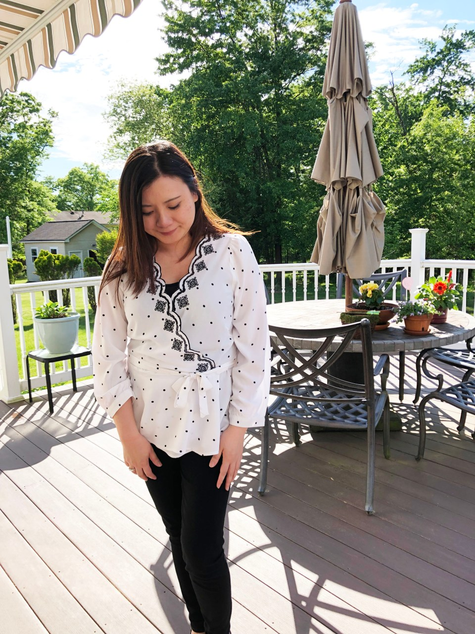 Dotted Scalloped Wrap Top 3