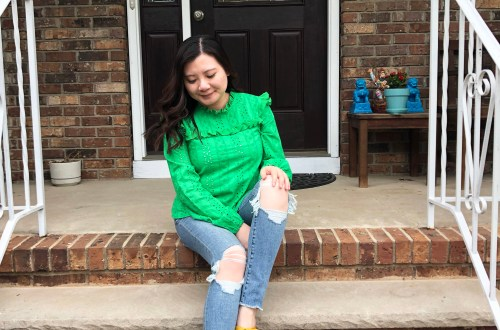 Green Smock Top + Mustard Yellow Mules