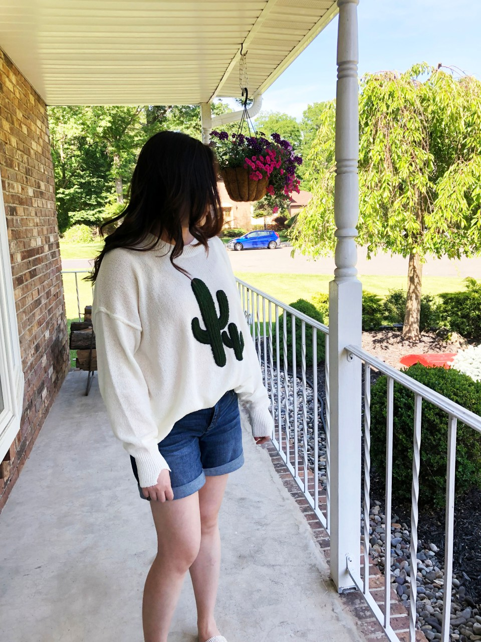 Embroidered Cactus Patch Sweater 12