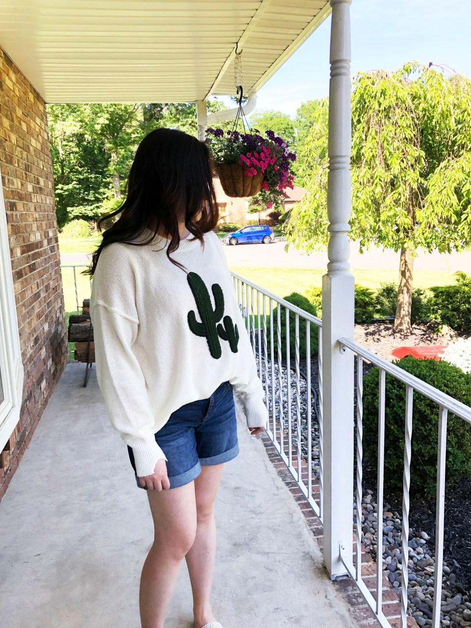 Embroidered Cactus Patch Sweater 13