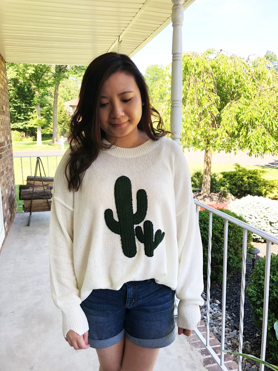 Embroidered Cactus Patch Sweater 15