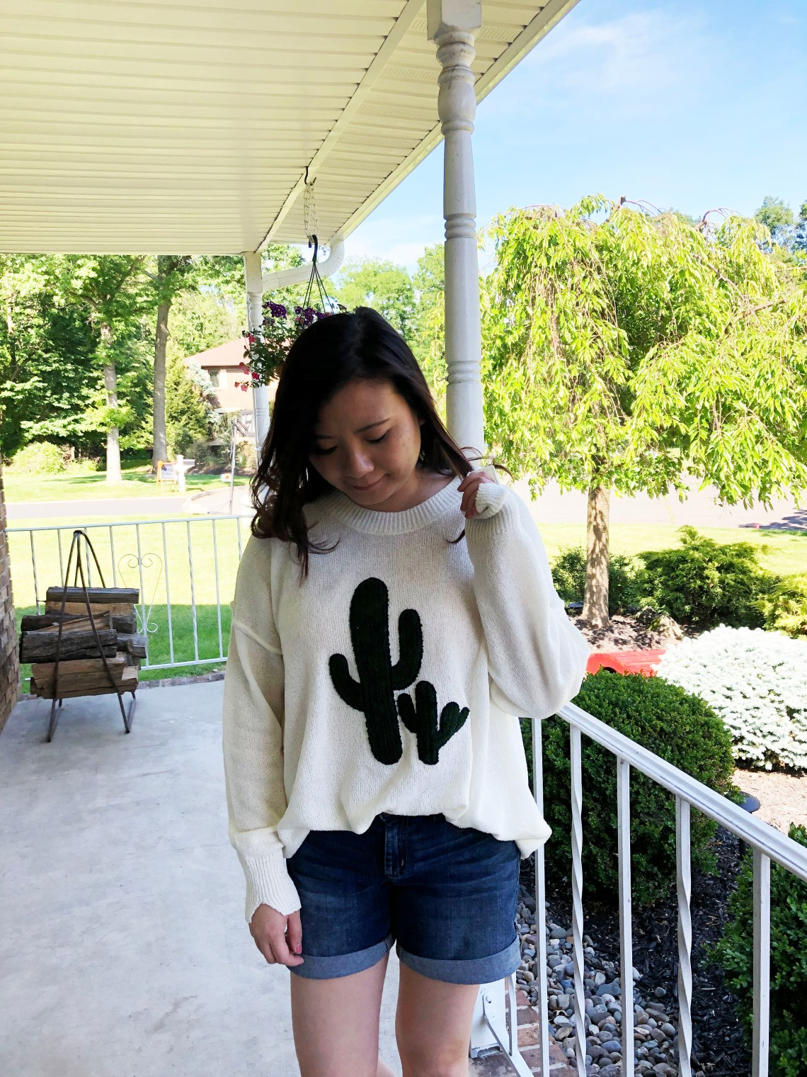Embroidered Cactus Patch Sweater