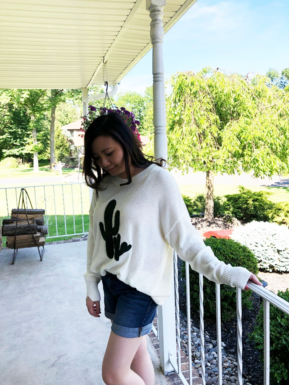 Embroidered Cactus Patch Sweater 8