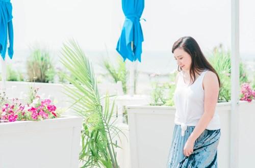Knotted Tank Top + Blue Velvet Pleated Skirt