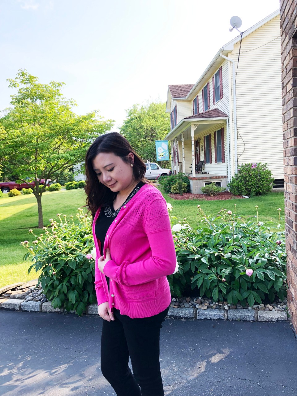 Jeweled Peter Pan Collar + Pink Cardigan 4
