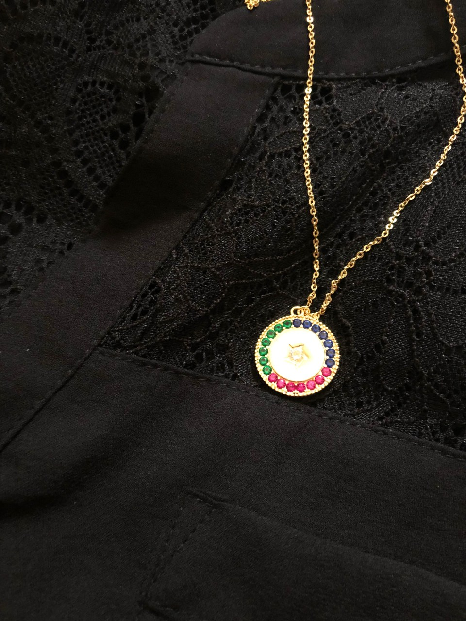 Lace Henley + Multicolor Necklaces 15