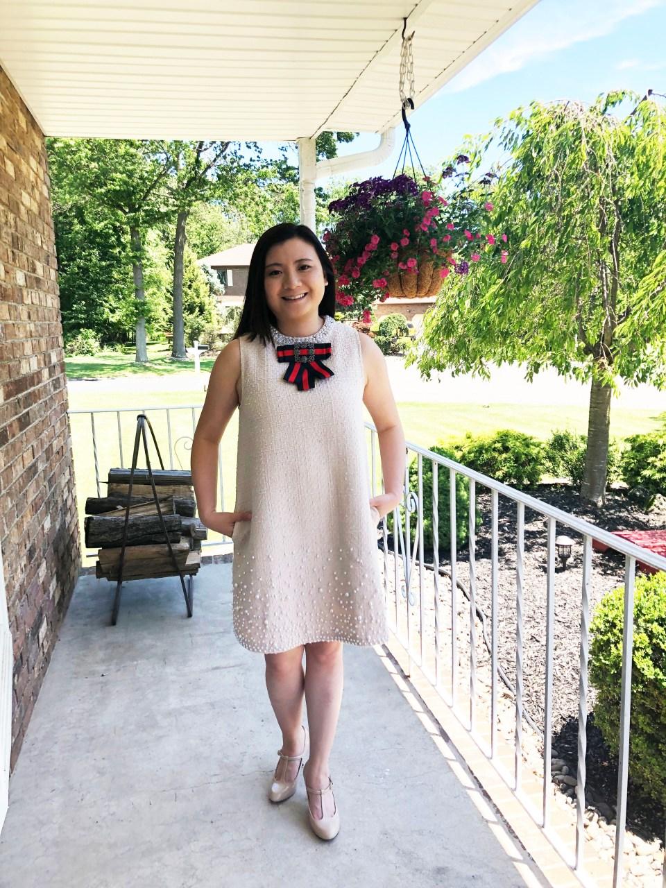 Pearl Embellished Shift Dress