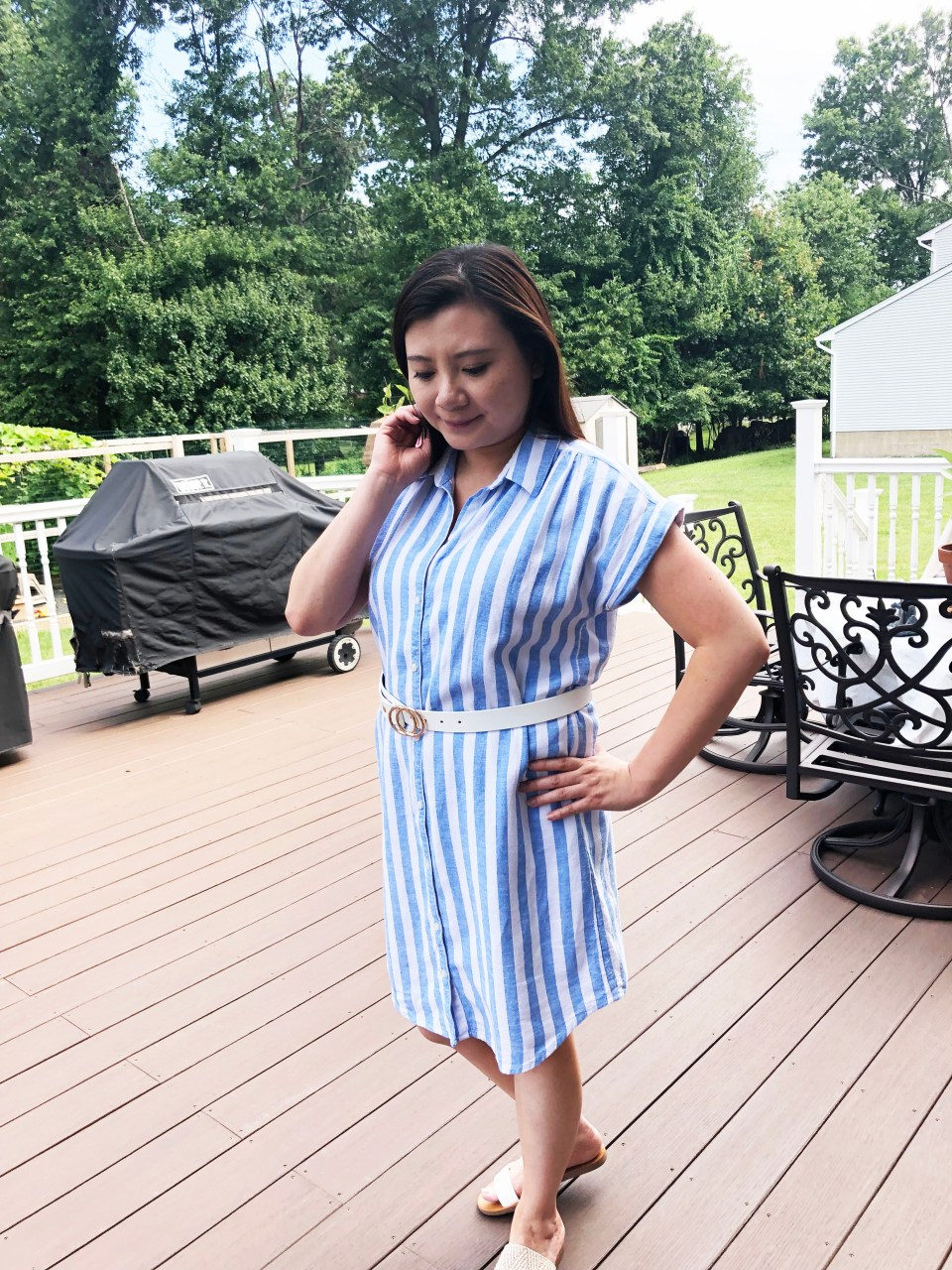 Blue & White Striped Linen Shirt Dress 10