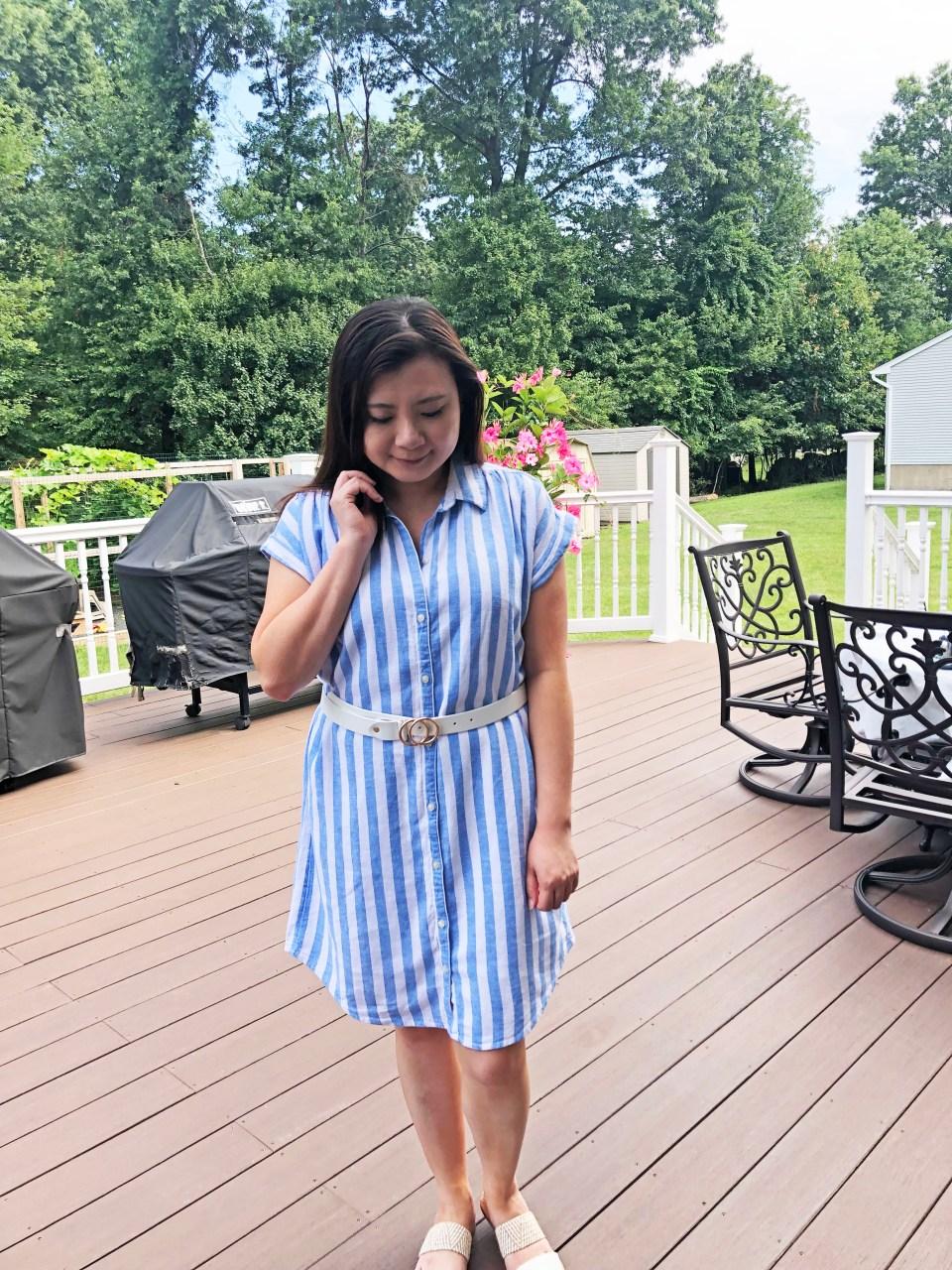 Blue & White Striped Linen Shirt Dress 11