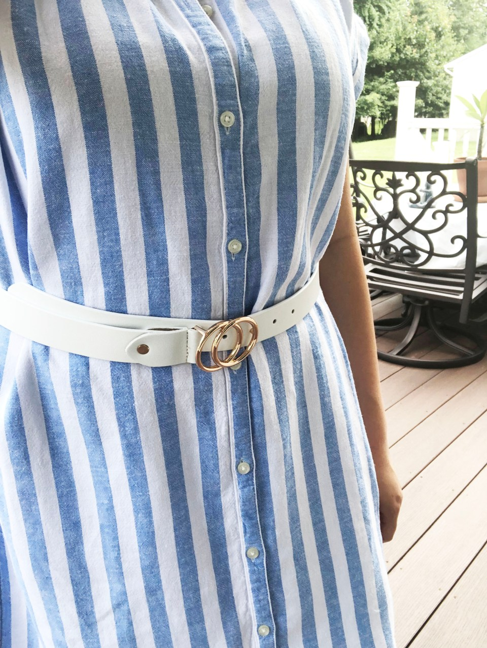 Blue & White Striped Linen Shirt Dress 12
