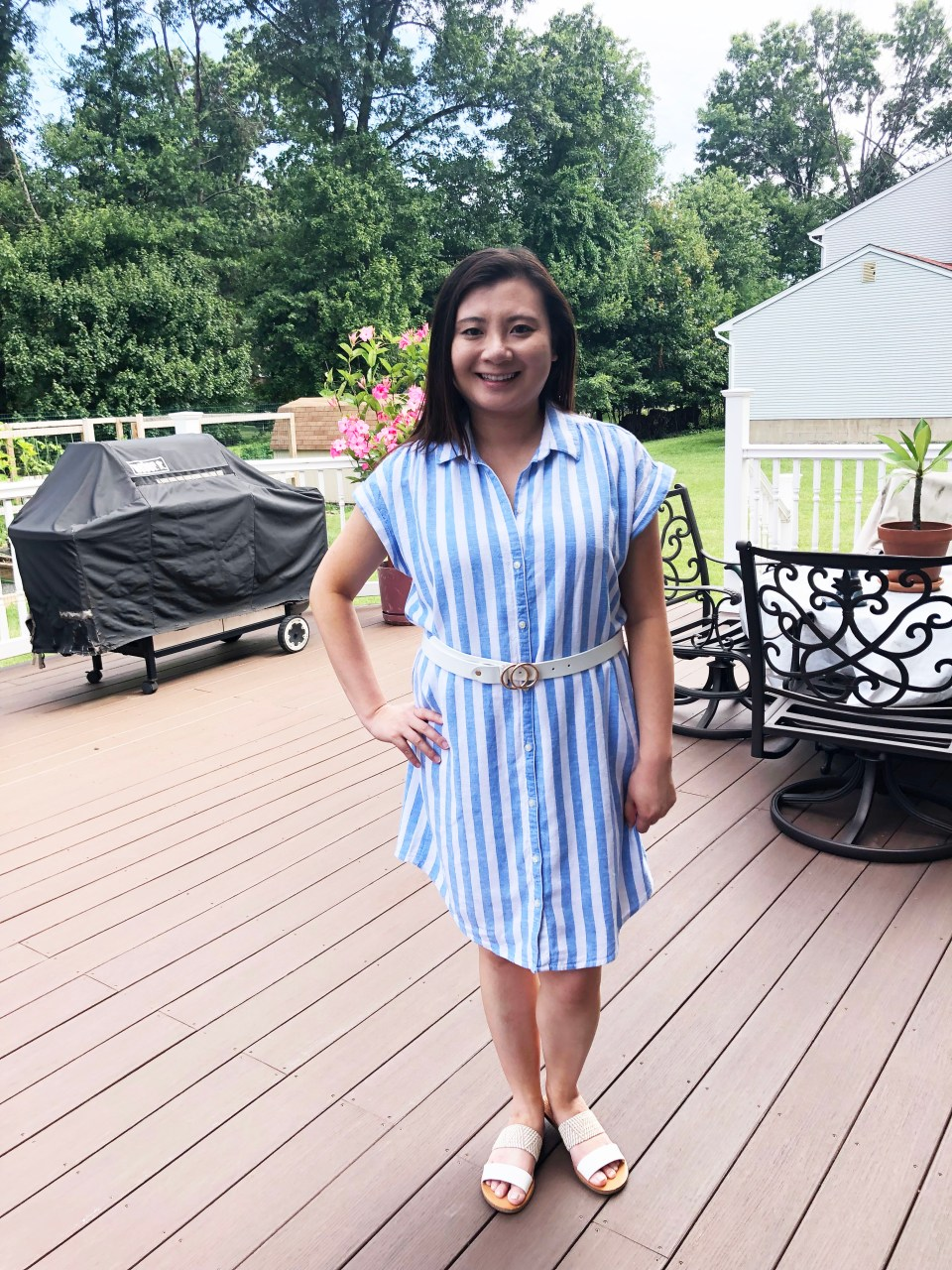 Blue & White Striped Linen Shirt Dress 8