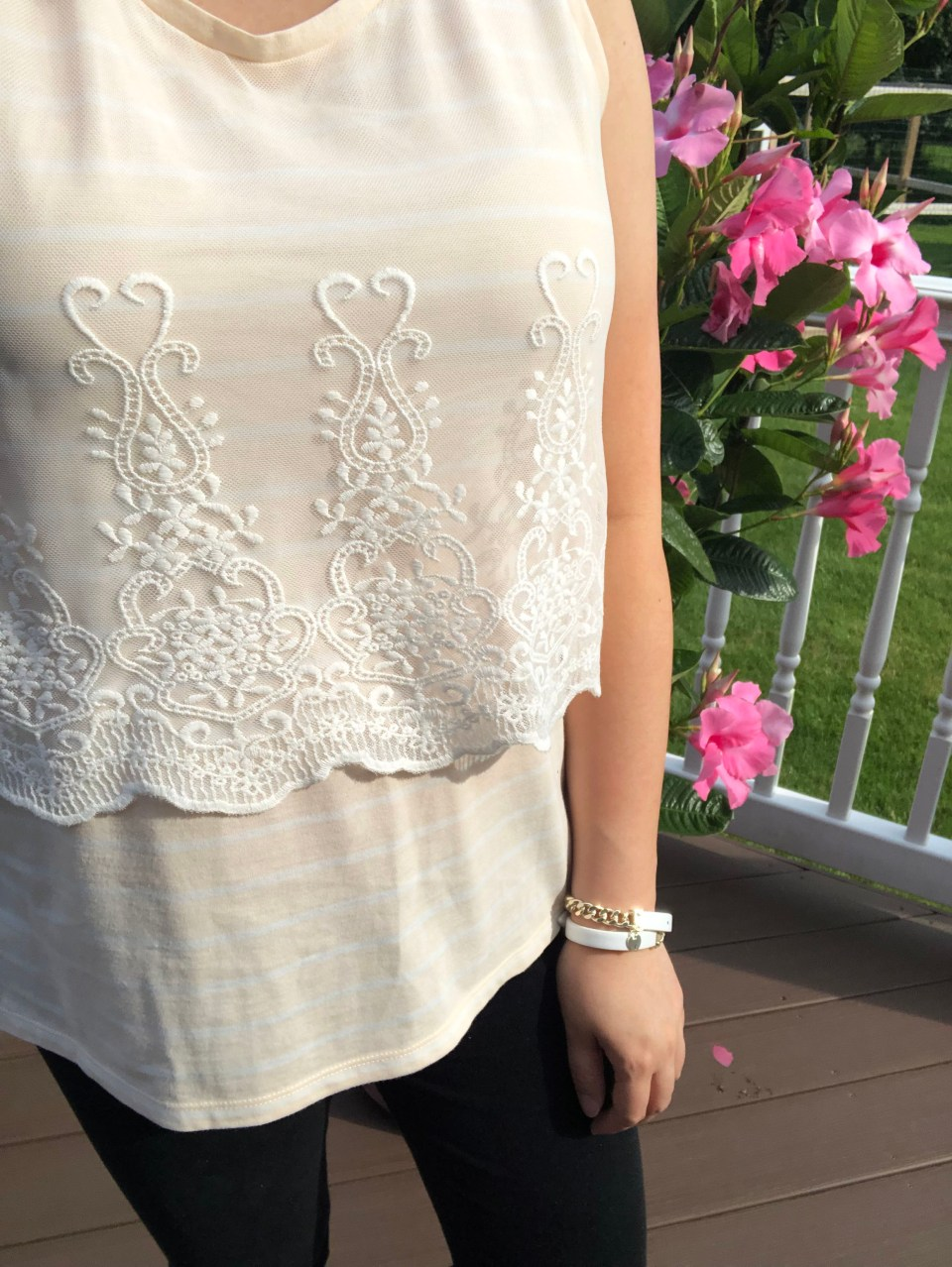 Embroidered Sheer Overlay Tank 13