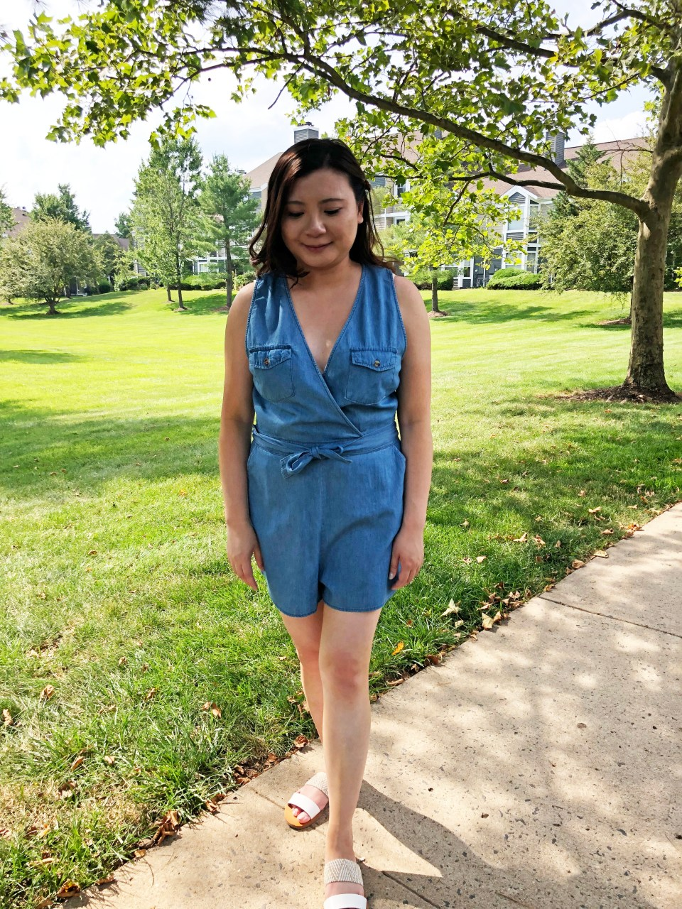 Front Pocket Chambray Romper 13