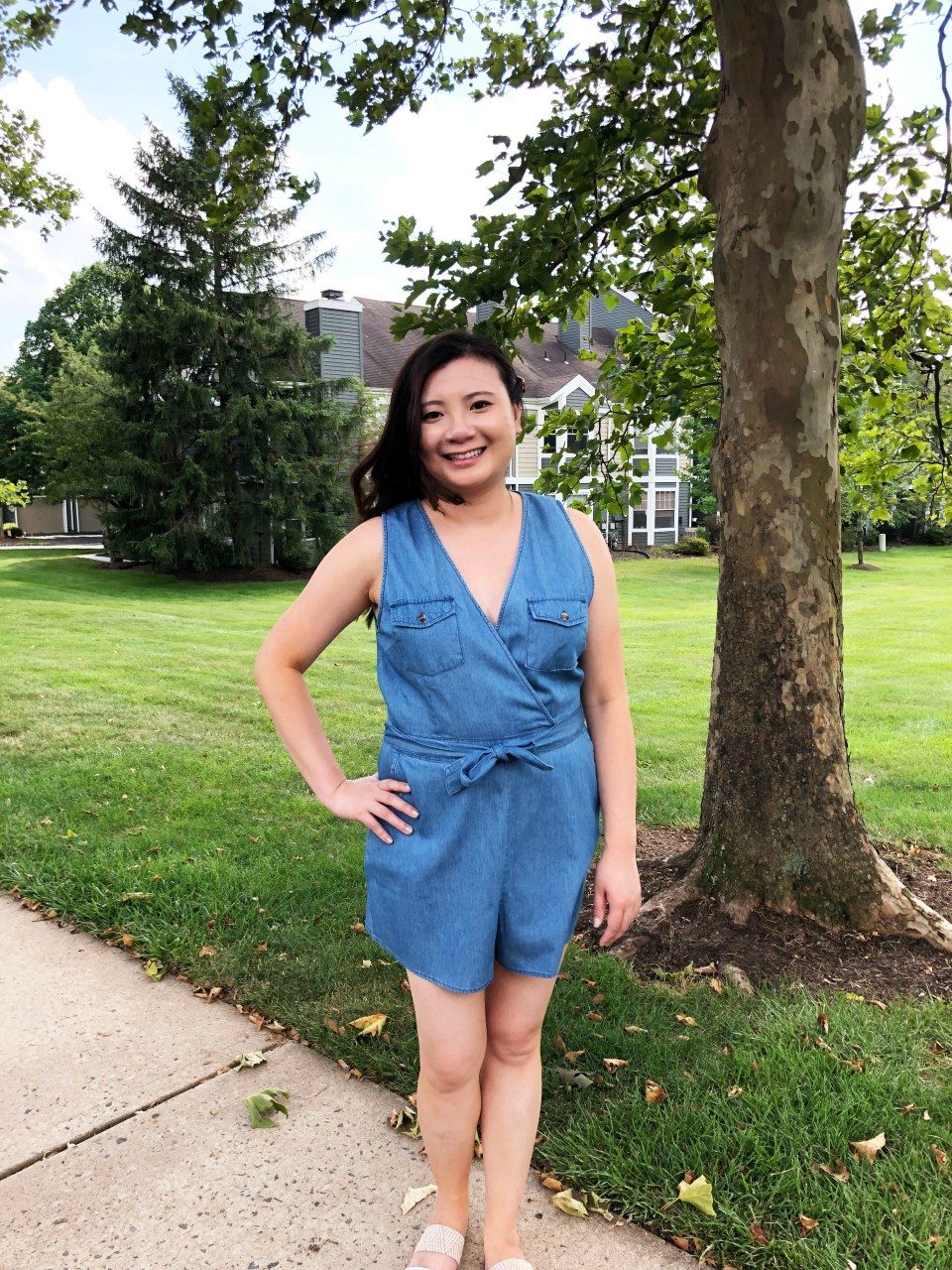 Front Pocket Chambray Romper 4