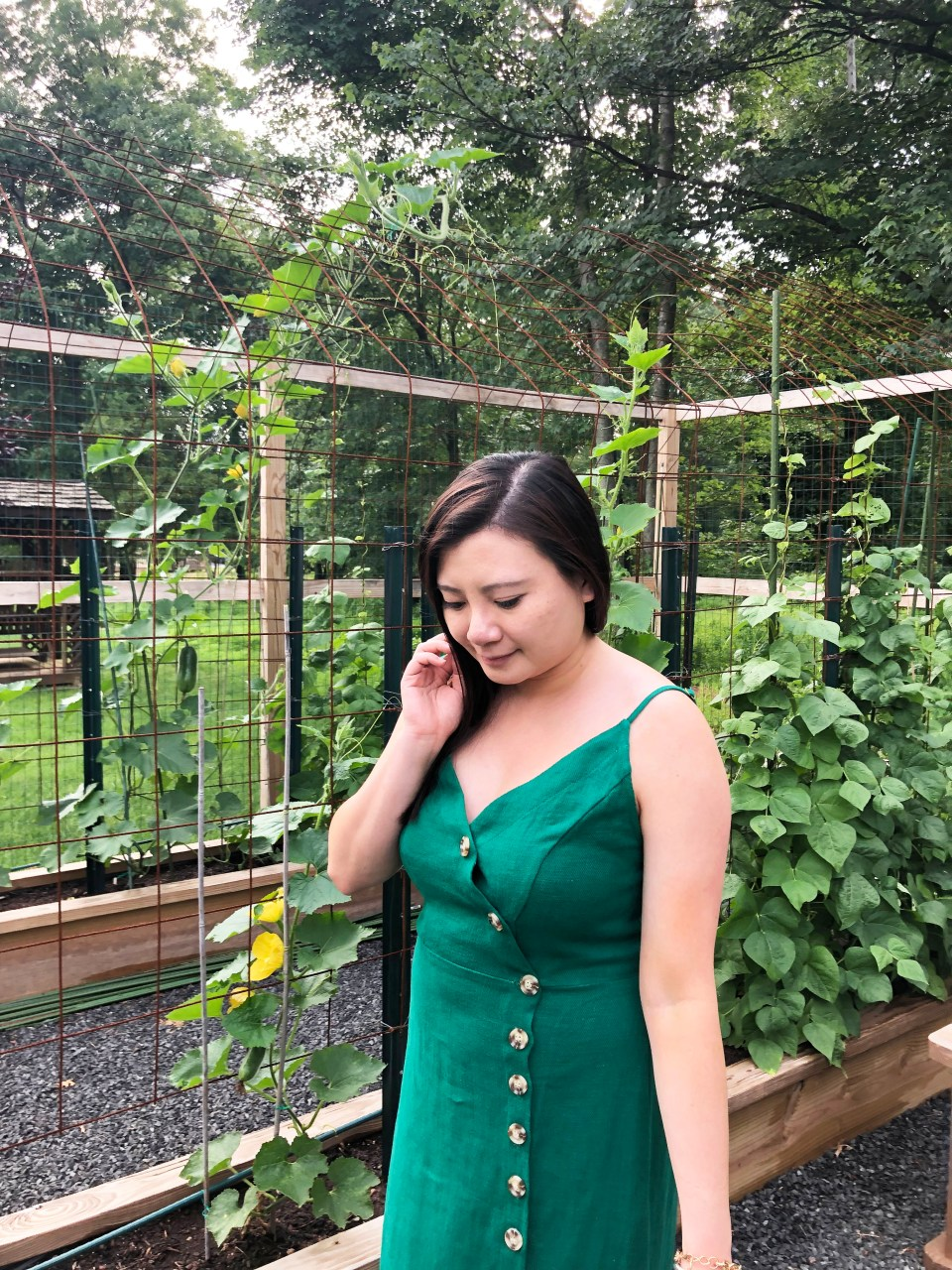 Green Asymmetrical Button Dress 13