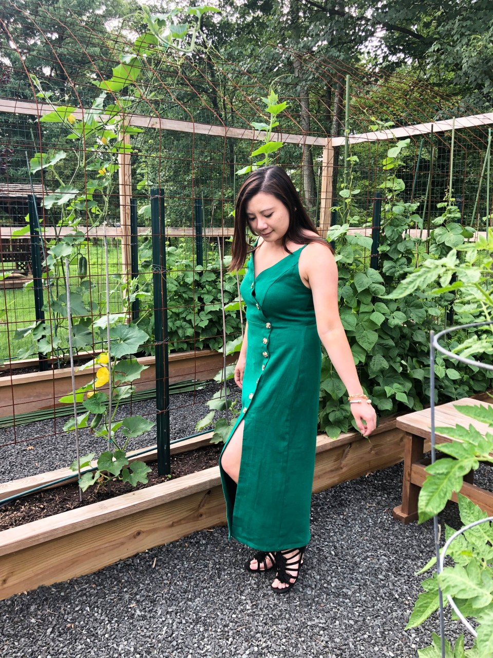 Green Asymmetrical Button Dress 7