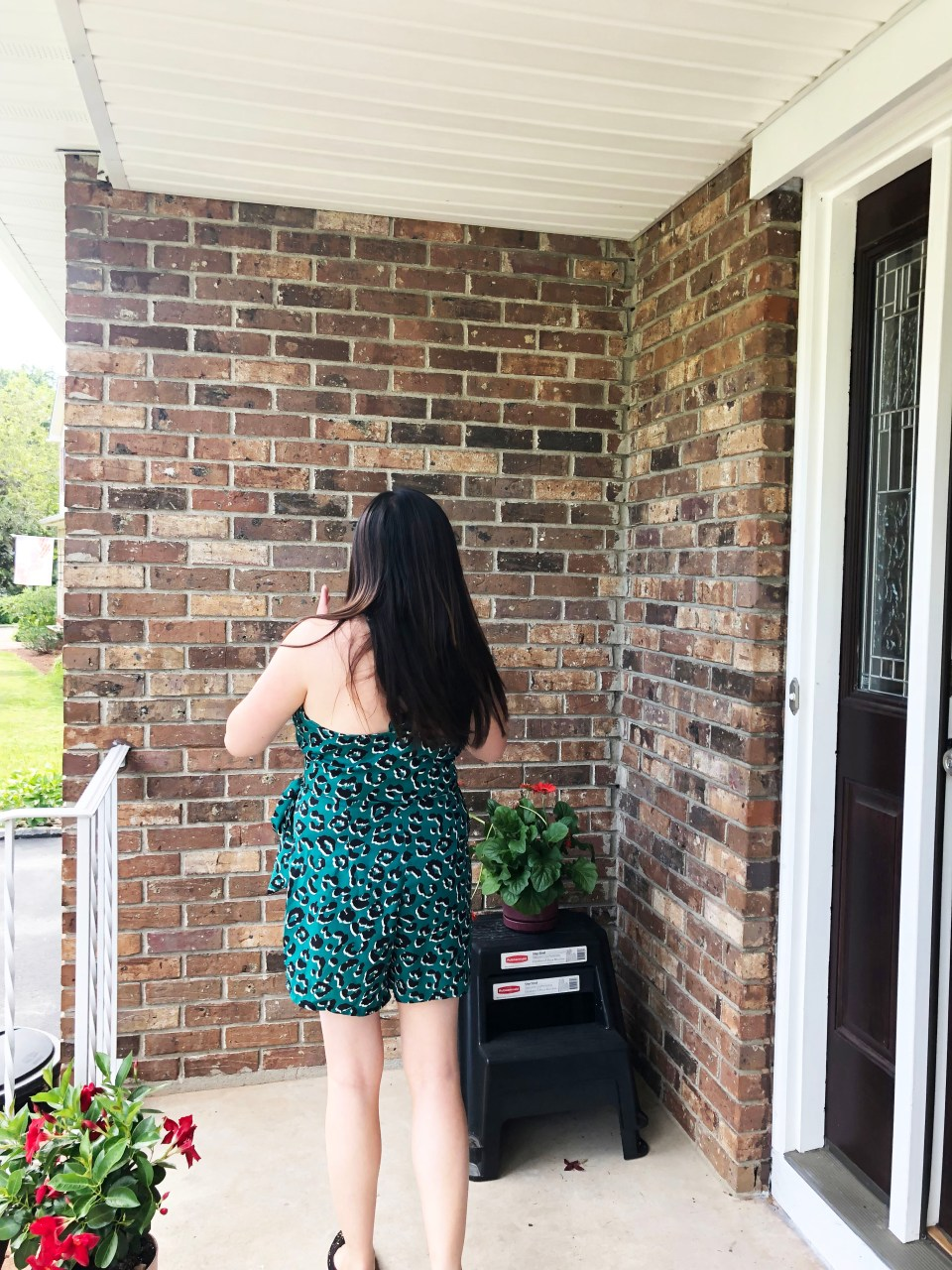 Animal Print Wrap Romper 4