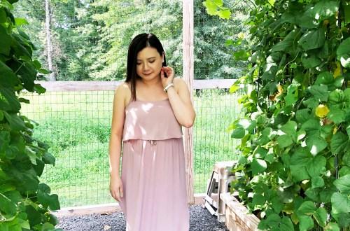 Mauve Split Midi Dress