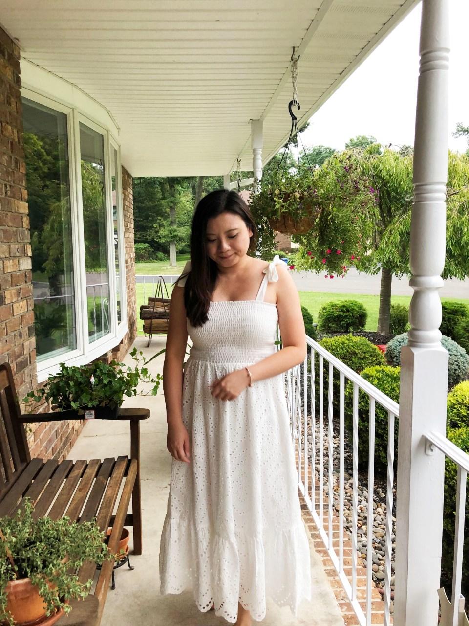 White Smocked & Eyelet Maxi Dress 16