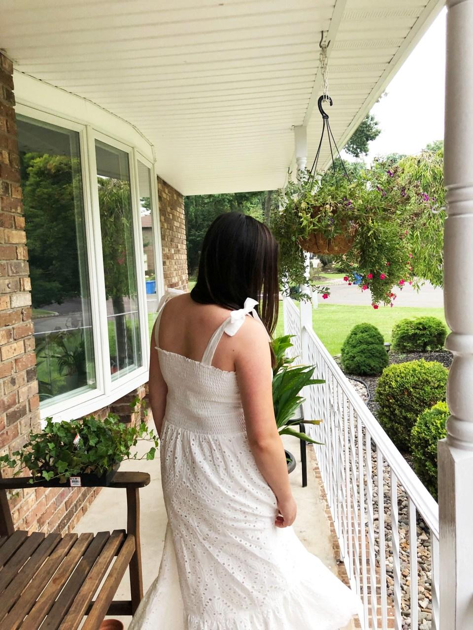 White Smocked & Eyelet Maxi Dress 18