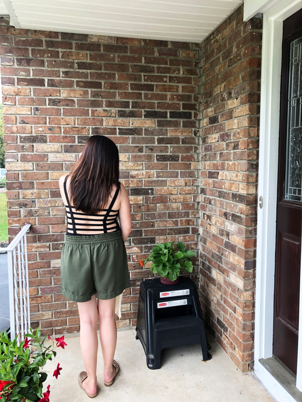 Olive Green Button Front Shorts 13