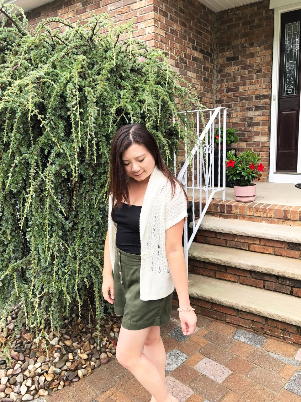 Olive Green Button Front Shorts 5