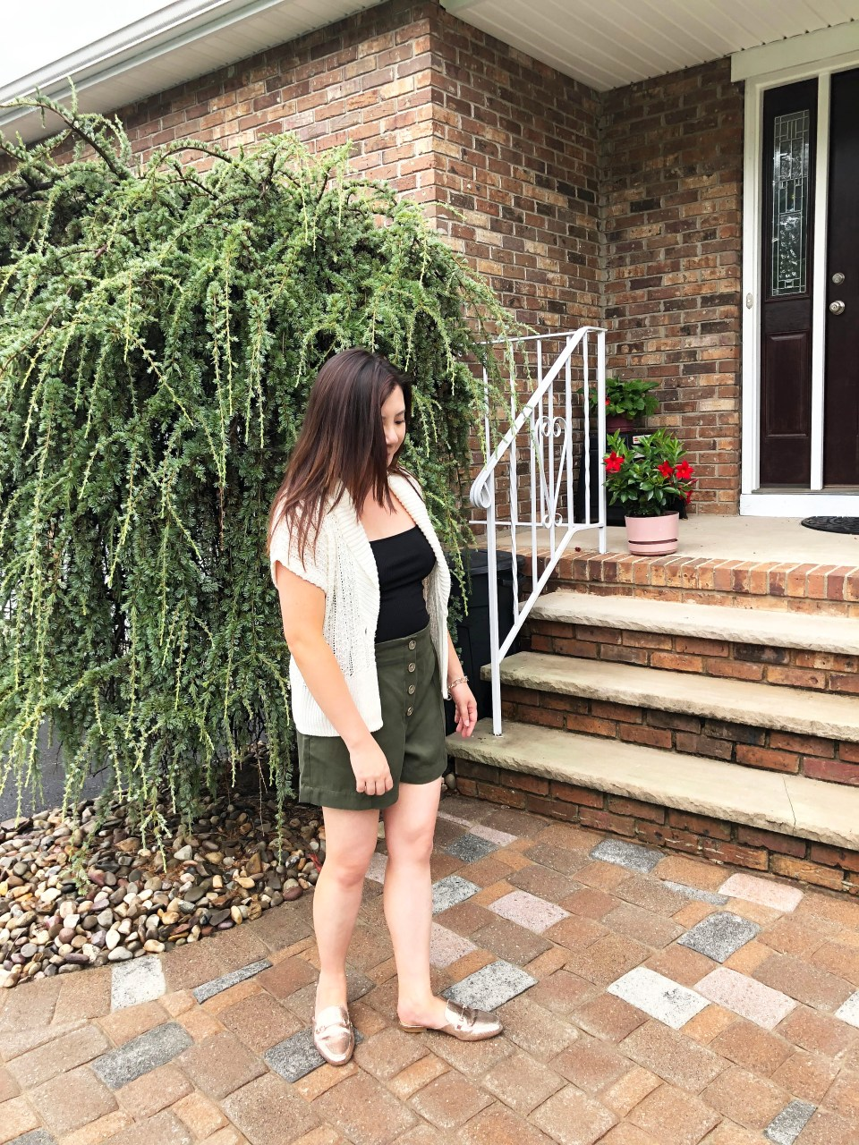 Olive Green Button Front Shorts 8