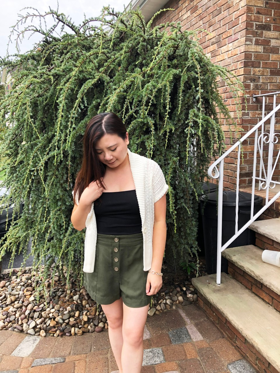 Olive Green Button Front Shorts
