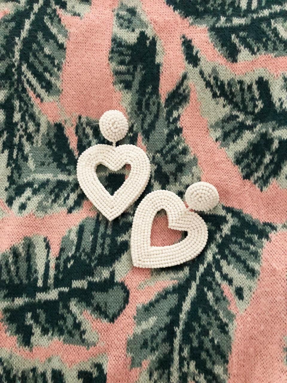 Palm Print Sweater Tank + Beaded Heart Earrings 1