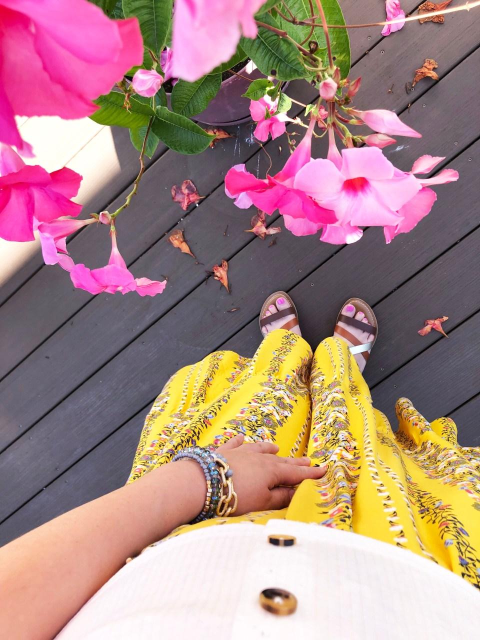 Yellow Floral Midi + Crop Top 15