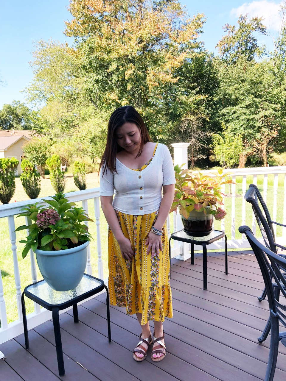Yellow Floral Midi + Crop Top 8