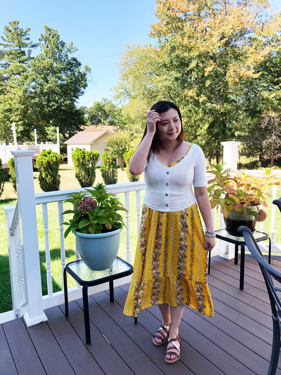 Yellow Floral Midi + Crop Top 9