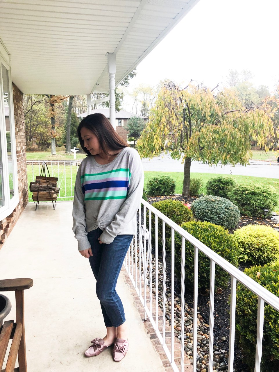 Striped Twist Front Pullover 1