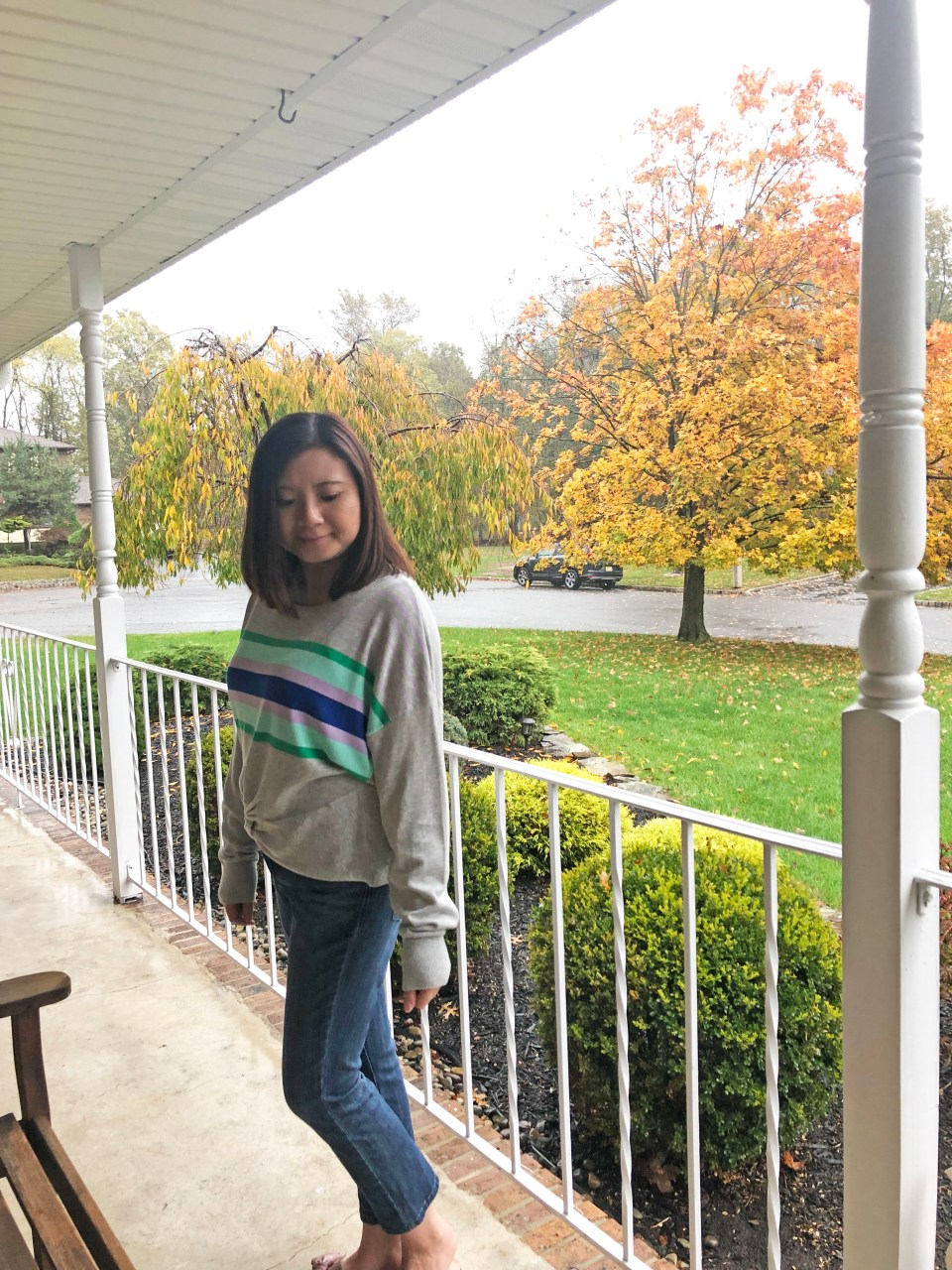 Striped Twist Front Pullover 15