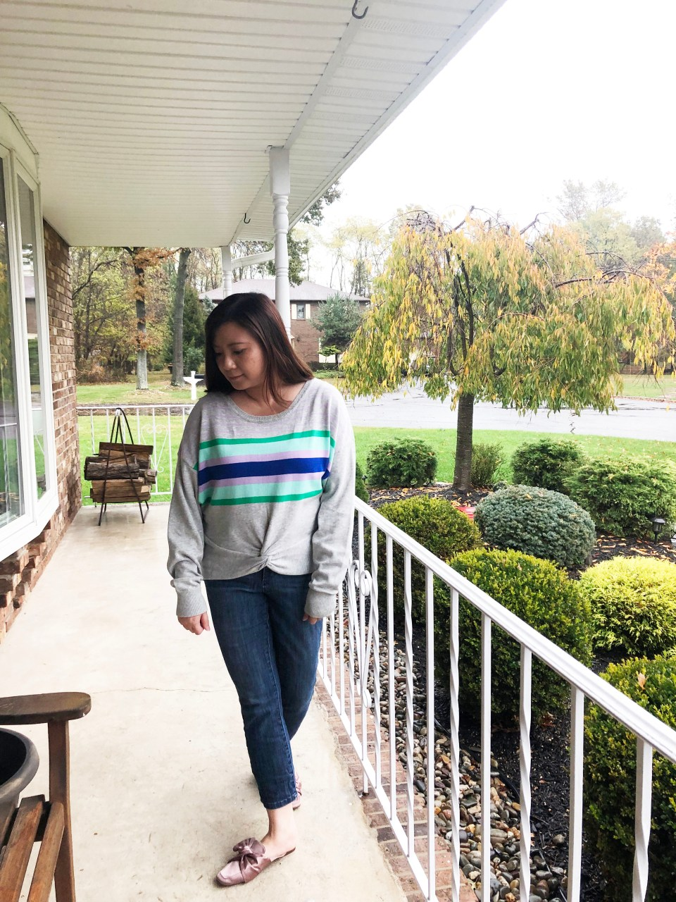Striped Twist Front Pullover 2