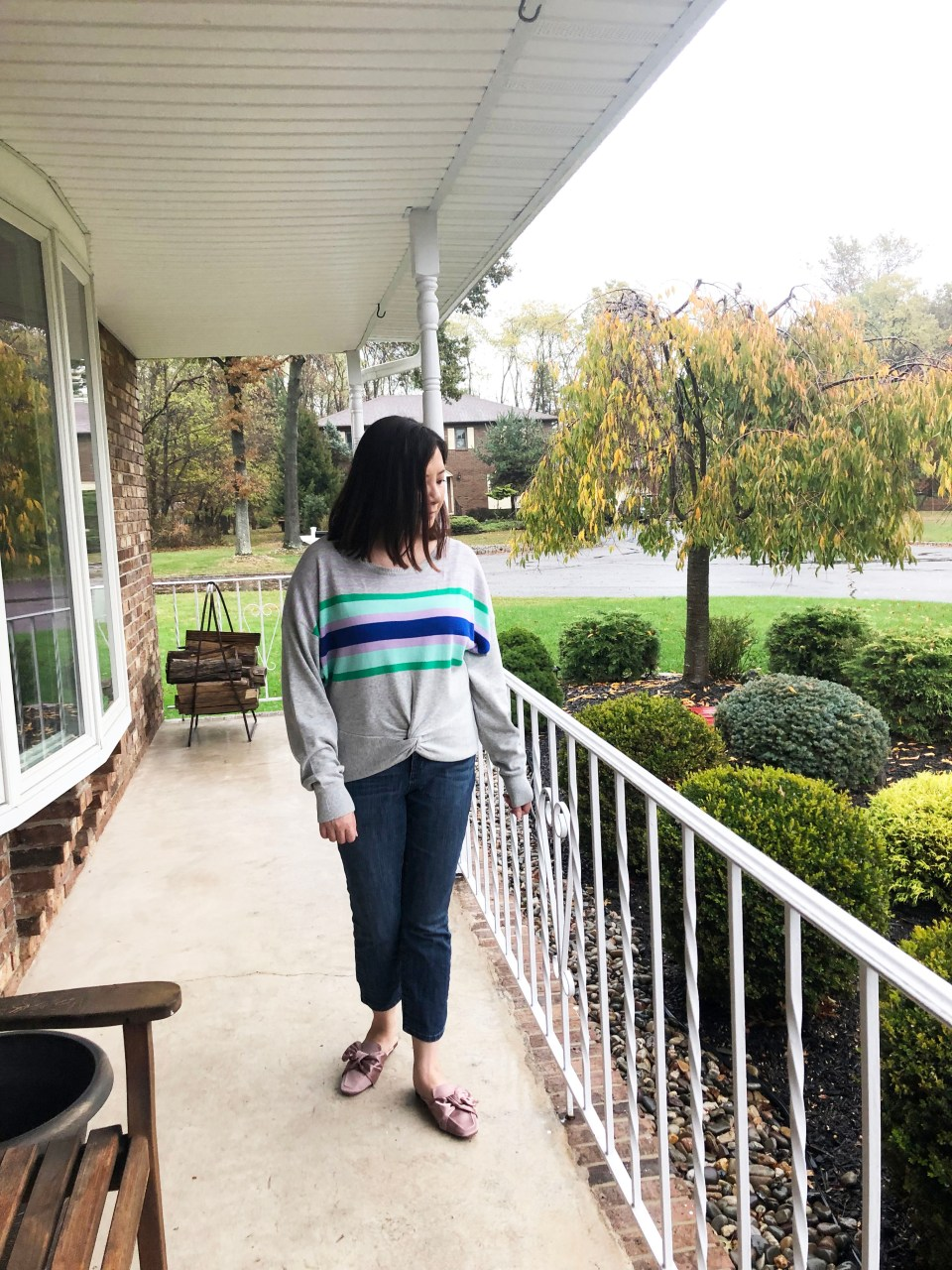 Striped Twist Front Pullover 3