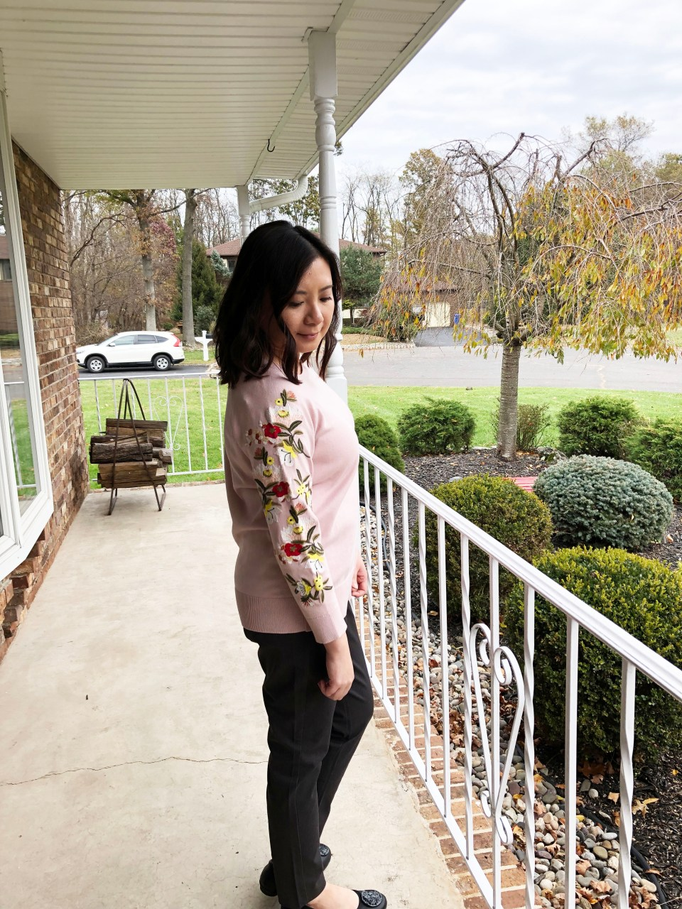 Embroidered Floral Sleeve Sweater 3