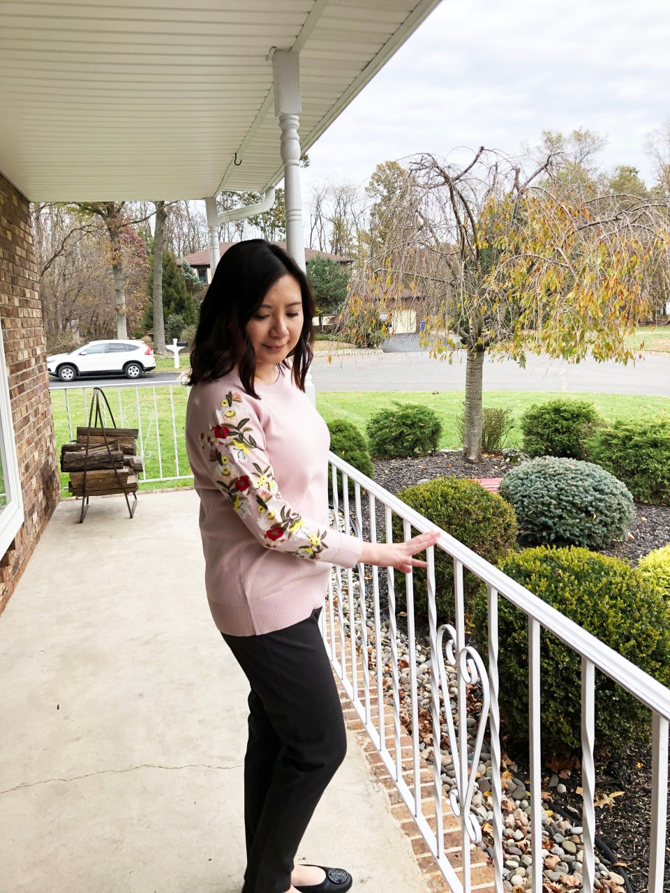 Embroidered Floral Sleeve Sweater 4